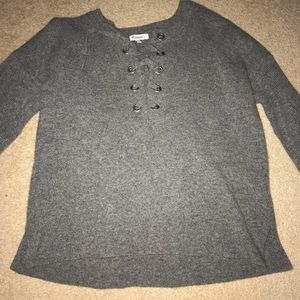 Wool Madewell lace up sweater